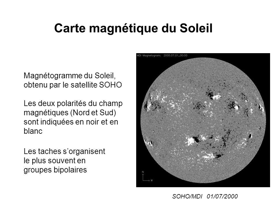 Règles de polarité (Hale 1923) La polarité magnétique (Nord ou Sud) de la tache qui précède l'autre dans la rotation reste la même, dans chaque hémisphère, durant tout le cycle de 11 ans.