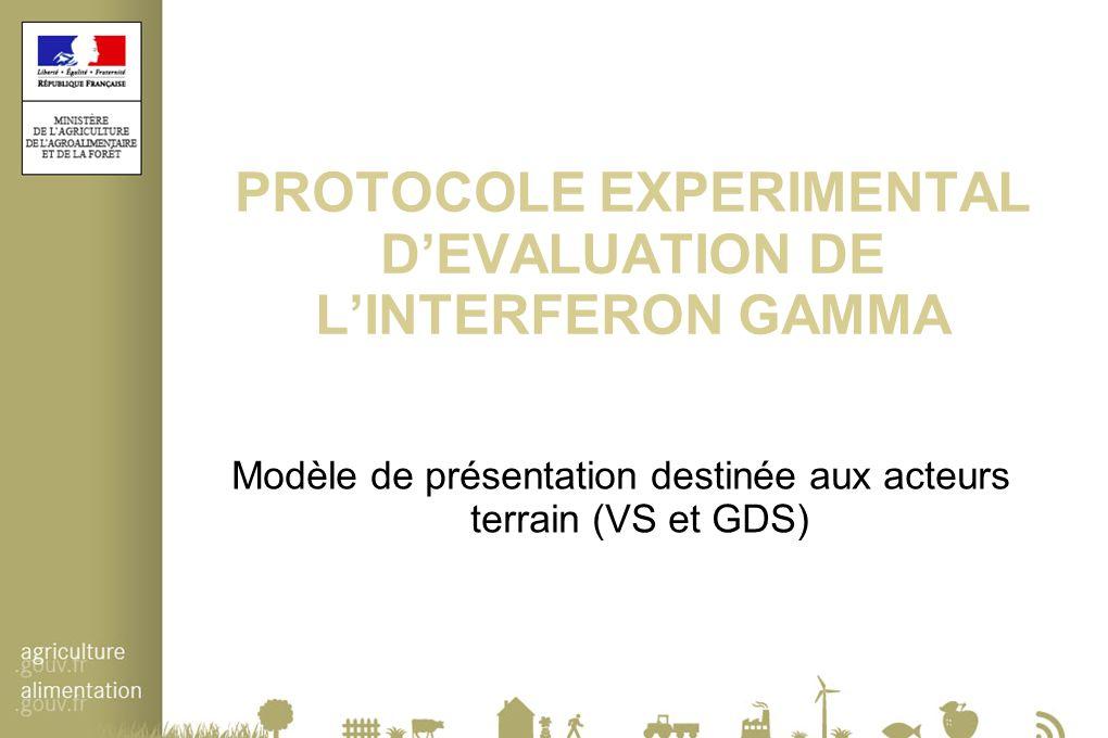 PROTOCOLE EXPERIMENTAL D'EVALUATION DE L'INTERFERON GAMMA Modèle de présentation destinée aux acteurs terrain (VS et GDS)