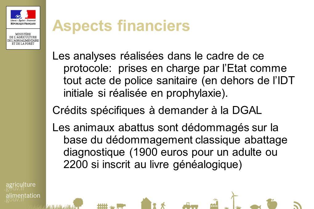 Aspects financiers Les analyses réalisées dans le cadre de ce protocole: prises en charge par l'Etat comme tout acte de police sanitaire (en dehors de