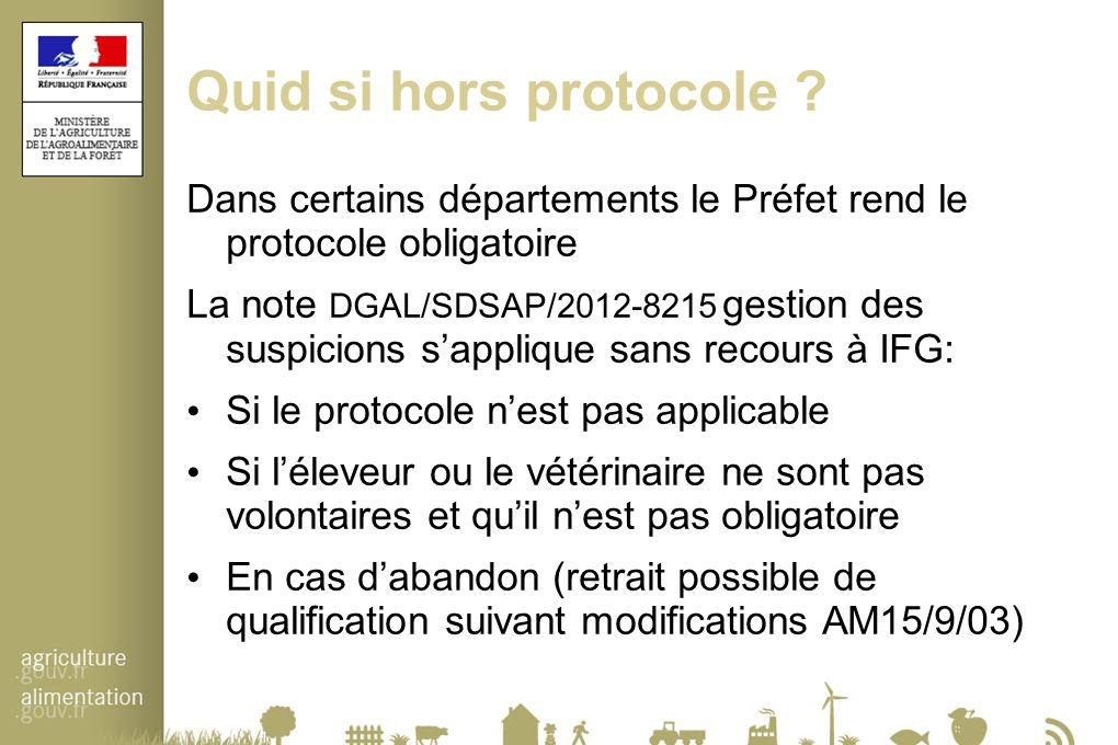 Quid si hors protocole ? Dans certains départements le Préfet rend le protocole obligatoire La note DGAL/SDSAP/2012-8215 gestion des suspicions s'appl