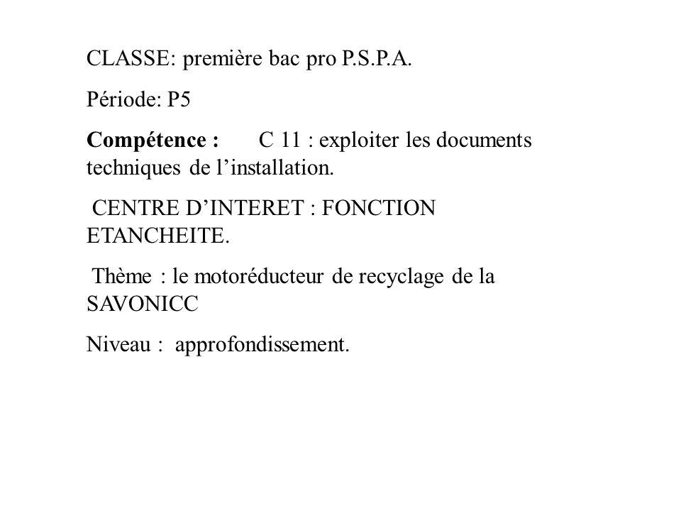 CLASSE: première bac pro P.S.P.A. Période: P5 Compétence : C 11 : exploiter les documents techniques de l'installation. CENTRE D'INTERET : FONCTION ET