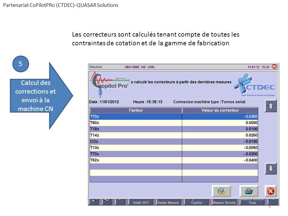 Partenariat CoPilotPRo (CTDEC)-QUASAR Solutions 5 Calcul des corrections et envoi à la machine CN Les correcteurs sont calculés tenant compte de toutes les contraintes de cotation et de la gamme de fabrication 6