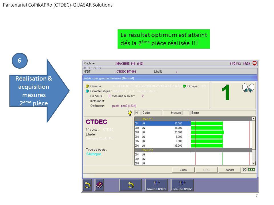 Partenariat CoPilotPRo (CTDEC)-QUASAR Solutions 6 Réalisation & acquisition mesures 2 ème pièce Le résultat optimum est atteint dés la 2 ème pièce réa