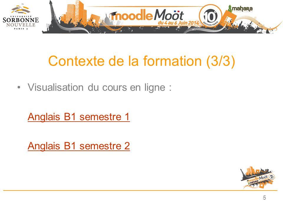 Contexte de la formation (3/3) Visualisation du cours en ligne : Anglais B1 semestre 1 Anglais B1 semestre 2 5