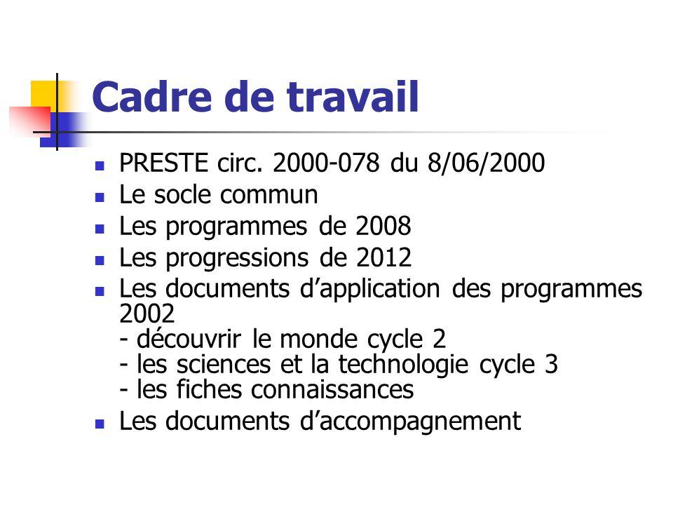 Cadre de travail PRESTE circ. 2000-078 du 8/06/2000 Le socle commun Les programmes de 2008 Les progressions de 2012 Les documents d'application des pr
