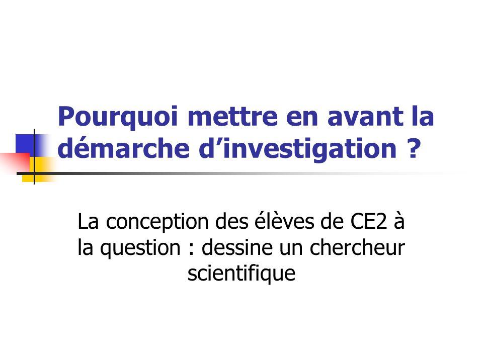 Pourquoi mettre en avant la démarche d'investigation ? La conception des élèves de CE2 à la question : dessine un chercheur scientifique