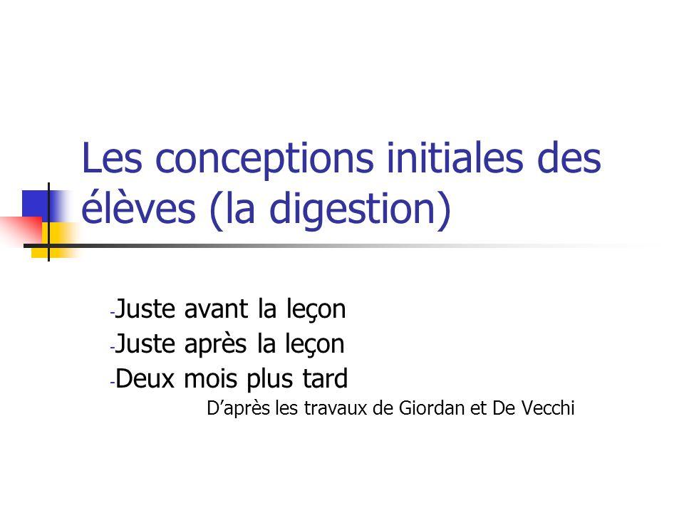 Les conceptions initiales des élèves (la digestion) - Juste avant la leçon - Juste après la leçon - Deux mois plus tard D'après les travaux de Giordan