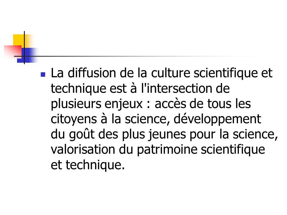 La diffusion de la culture scientifique et technique est à l'intersection de plusieurs enjeux : accès de tous les citoyens à la science, développement