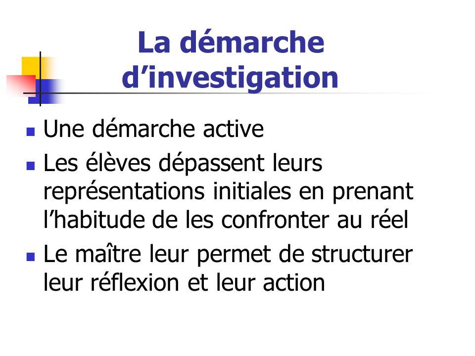 La démarche d'investigation Une démarche active Les élèves dépassent leurs représentations initiales en prenant l'habitude de les confronter au réel L