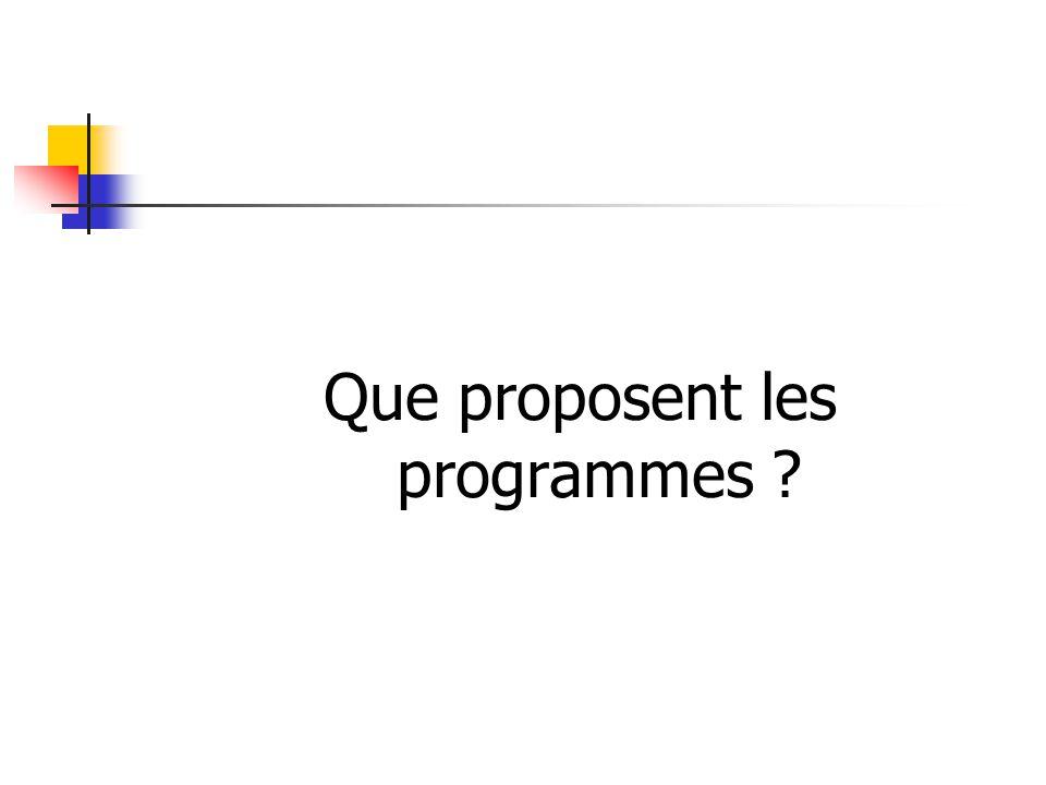Que proposent les programmes ?