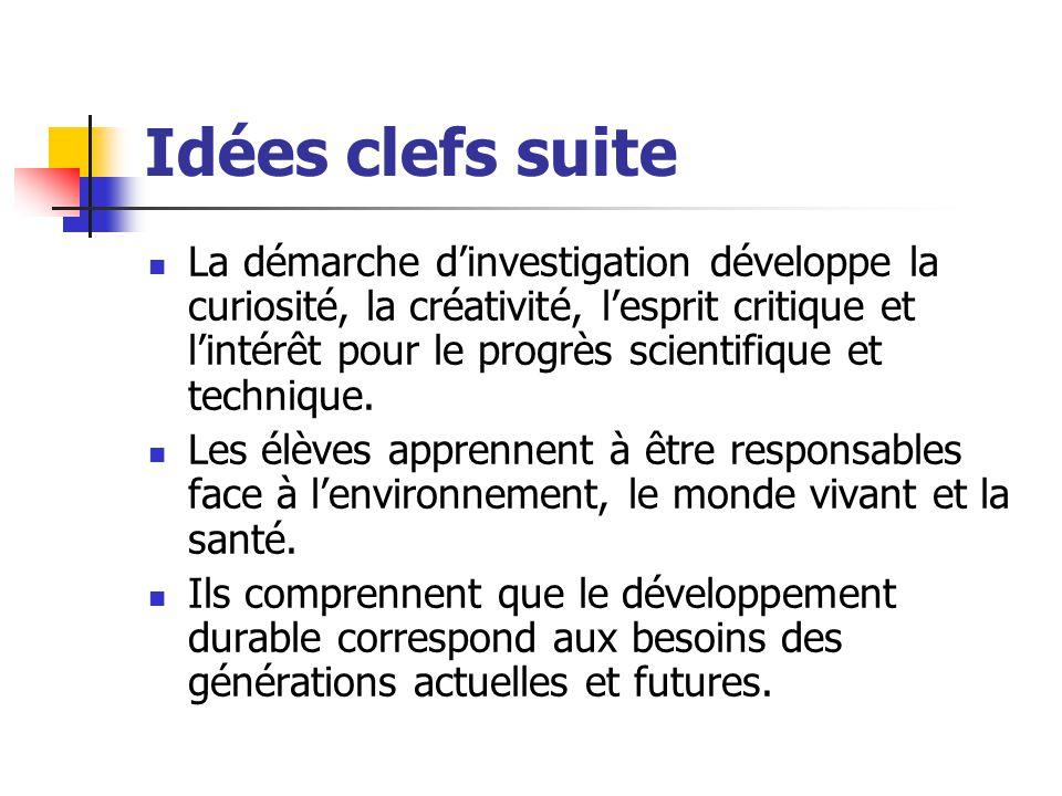 Idées clefs suite La démarche d'investigation développe la curiosité, la créativité, l'esprit critique et l'intérêt pour le progrès scientifique et te