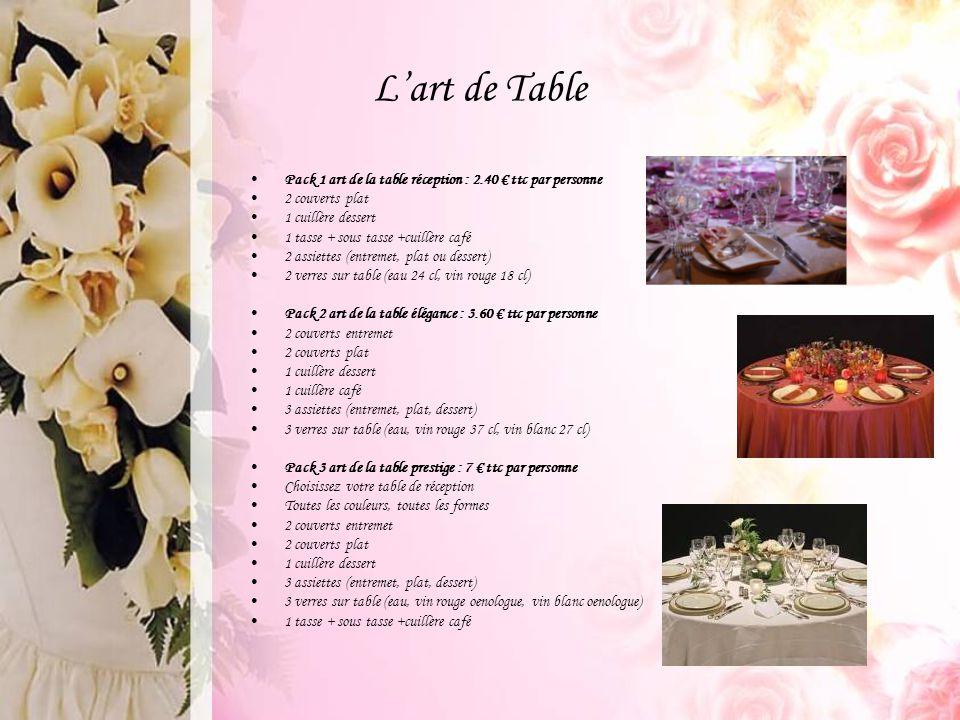 L'art de Table Pack 1 art de la table réception : 2.40 € ttc par personne 2 couverts plat 1 cuillère dessert 1 tasse + sous tasse +cuillère café 2 ass