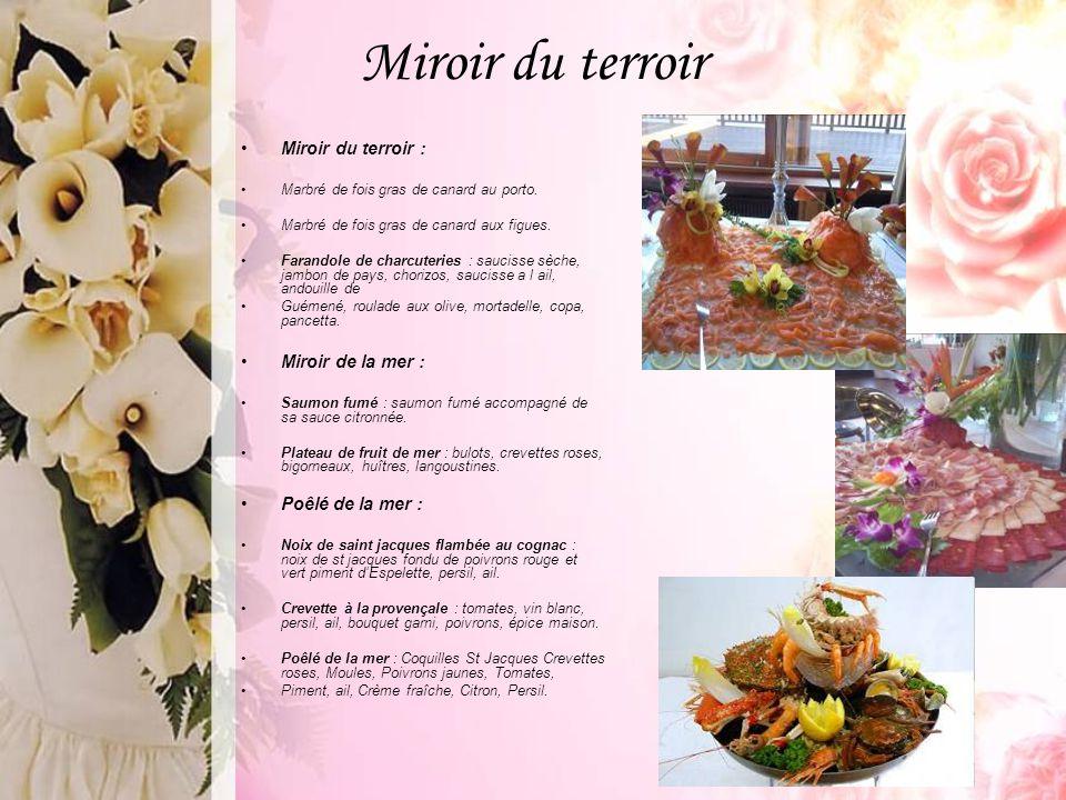 Miroir du terroir Miroir du terroir : Marbré de fois gras de canard au porto. Marbré de fois gras de canard aux figues. Farandole de charcuteries : sa