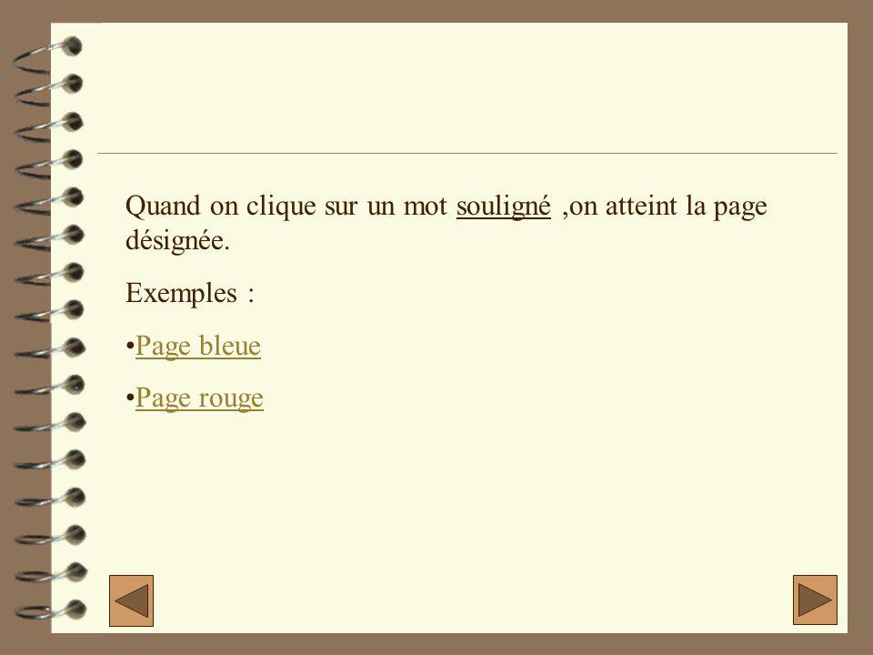 Quand on clique sur un mot souligné,on atteint la page désignée. Exemples : Page bleue Page rouge