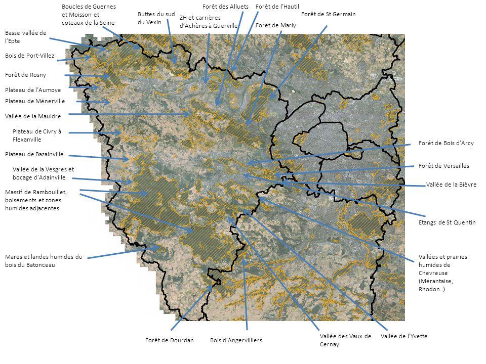 Forêt de St Germain Forêt de Marly Forêt de l'Hautil ZH et carrières d'Achères à Guerville Buttes du sud du Vexin Boucles de Guernes et Moisson et cot