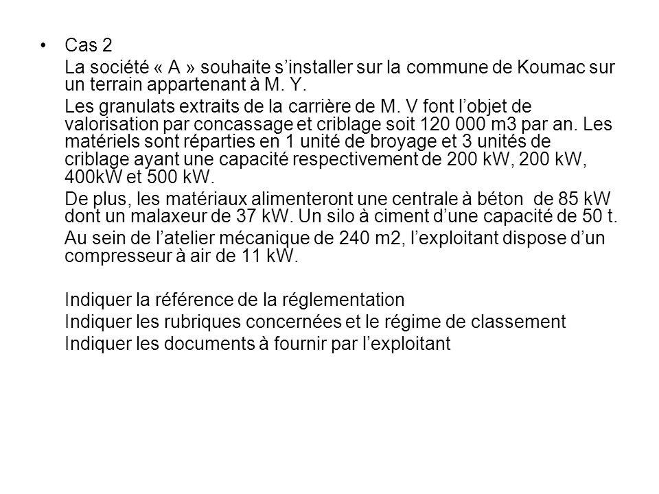 Cas 2 La société « A » souhaite s'installer sur la commune de Koumac sur un terrain appartenant à M.