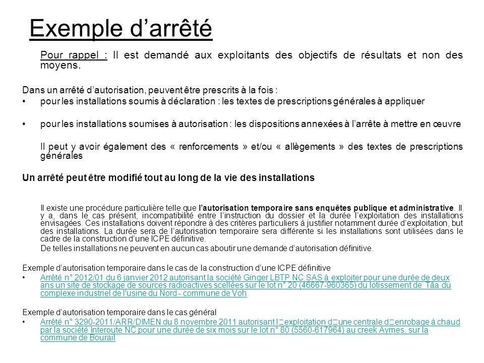 Exemple d'arrêté Pour rappel : Il est demandé aux exploitants des objectifs de résultats et non des moyens.