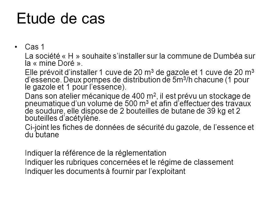 Etude de cas Cas 1 La société « H » souhaite s'installer sur la commune de Dumbéa sur la « mine Doré ».