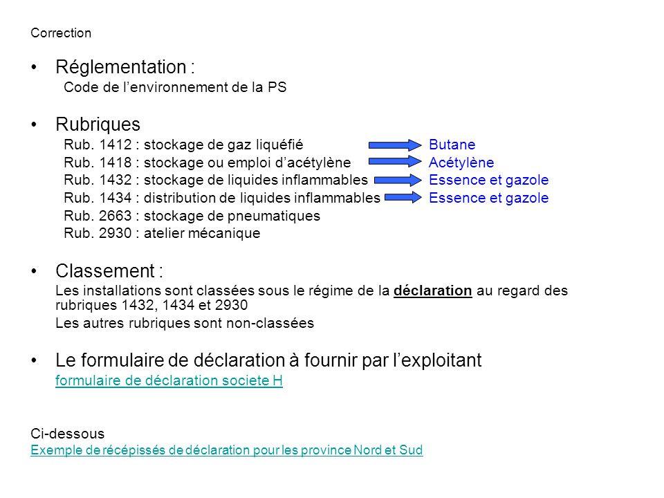 Correction Réglementation : Code de l'environnement de la PS Rubriques Rub.