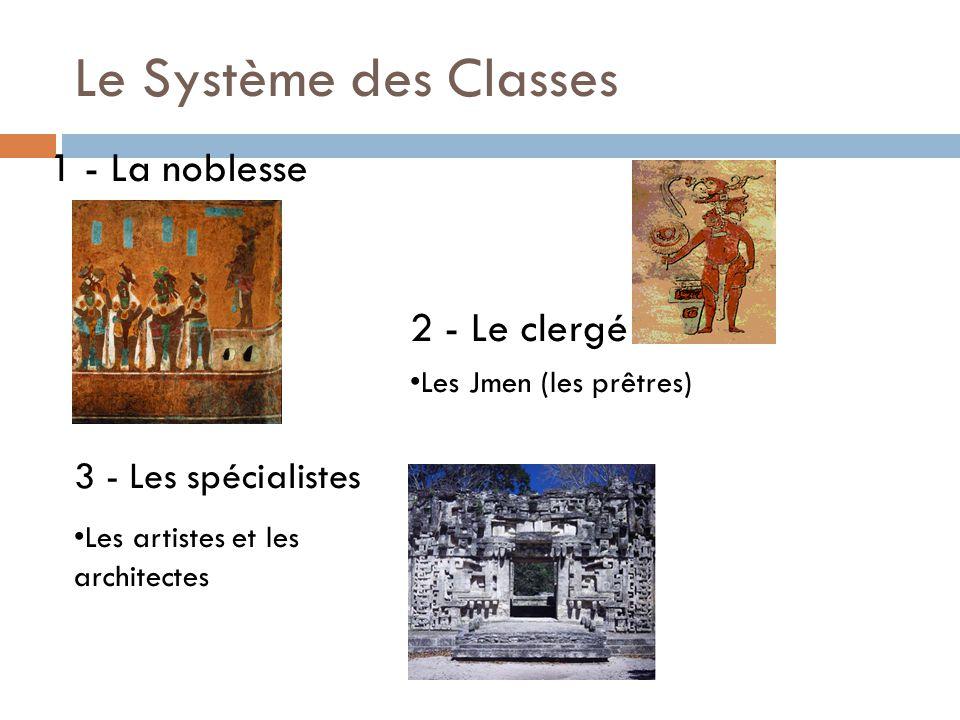 Le Système des Classes 3 - Les spécialistes 2 - Le clergé Les Jmen (les prêtres) 1 - La noblesse Les artistes et les architectes