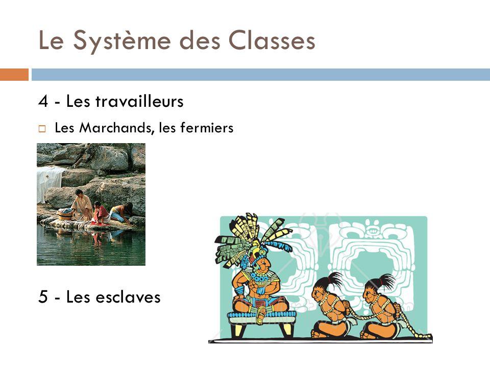 Le Système des Classes 4 - Les travailleurs  Les Marchands, les fermiers 5 - Les esclaves