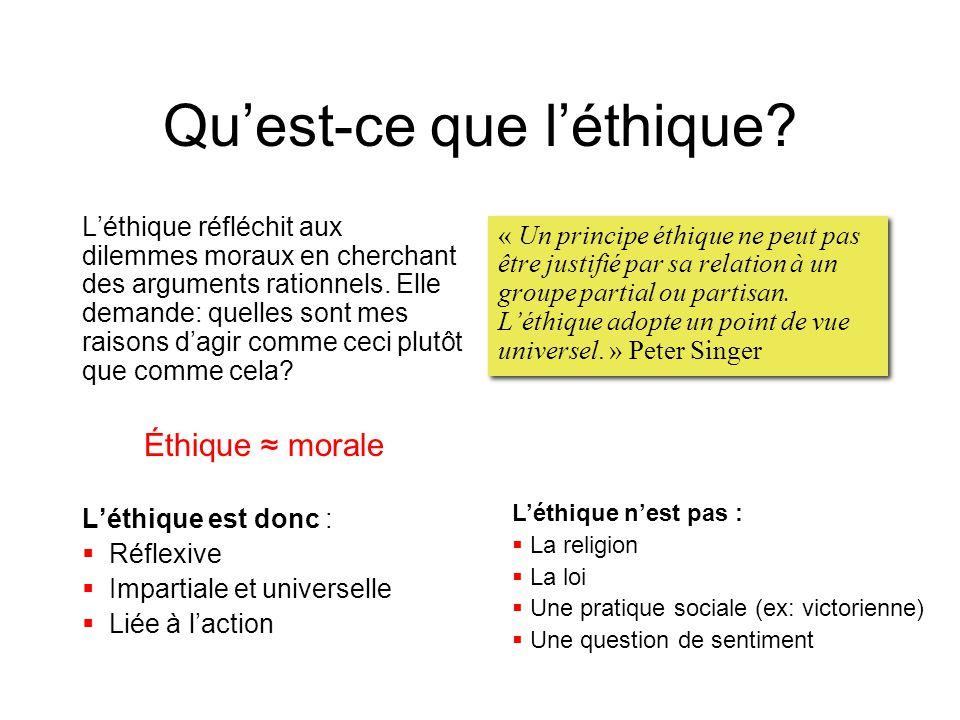 Qu'est-ce que l'éthique? L'éthique réfléchit aux dilemmes moraux en cherchant des arguments rationnels. Elle demande: quelles sont mes raisons d'agir