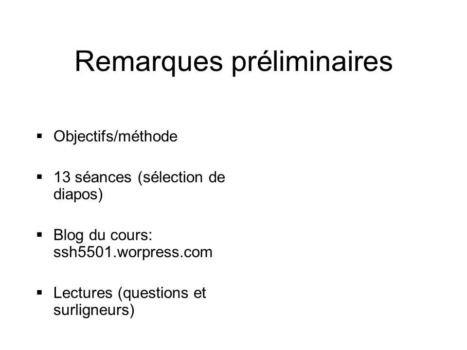 Remarques préliminaires  Objectifs/méthode  13 séances (sélection de diapos)  Blog du cours: ssh5501.worpress.com  Lectures (questions et surligne