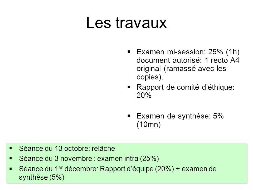 Les travaux  Examen mi-session: 25% (1h) document autorisé: 1 recto A4 original (ramassé avec les copies).  Rapport de comité d'éthique: 20%  Exame