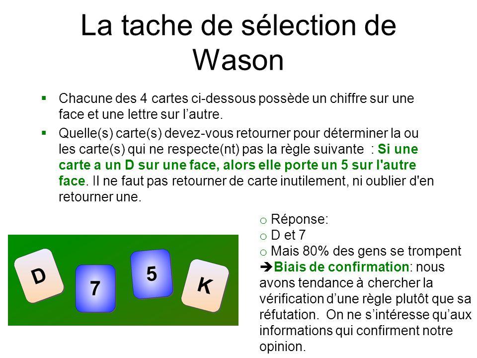 La tache de sélection de Wason  Chacune des 4 cartes ci-dessous possède un chiffre sur une face et une lettre sur l'autre.  Quelle(s) carte(s) devez