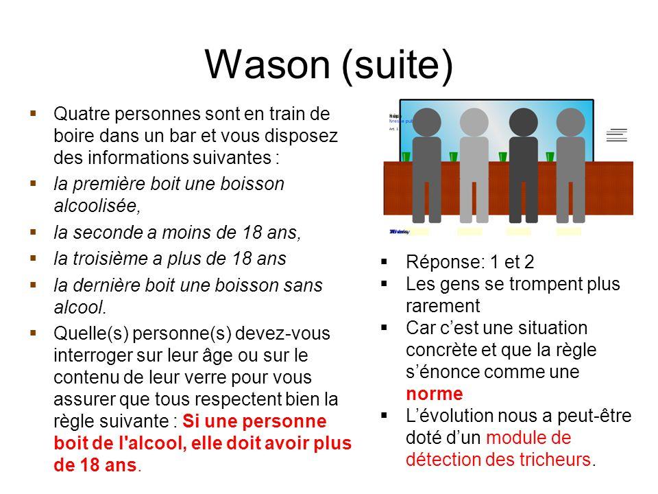 Wason (suite)  Quatre personnes sont en train de boire dans un bar et vous disposez des informations suivantes :  la première boit une boisson alcoo