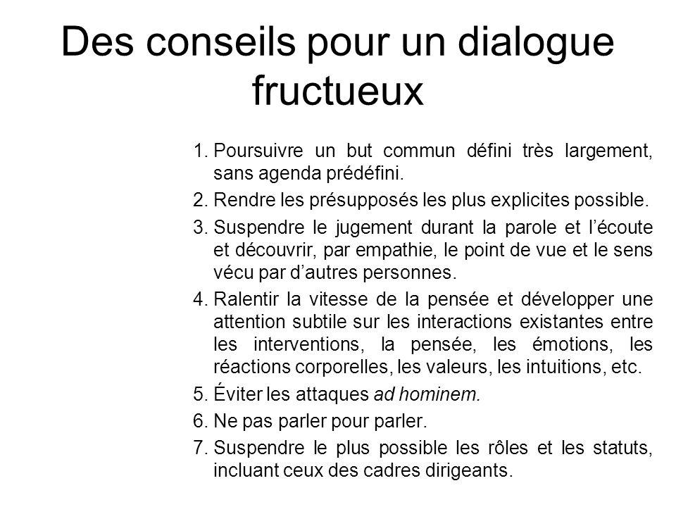 Des conseils pour un dialogue fructueux 1.Poursuivre un but commun défini très largement, sans agenda prédéfini. 2.Rendre les présupposés les plus exp