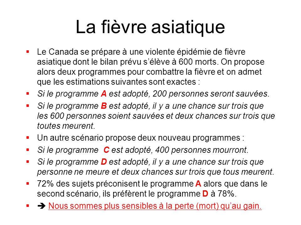 La fièvre asiatique  Le Canada se prépare à une violente épidémie de fièvre asiatique dont le bilan prévu s'élève à 600 morts. On propose alors deux