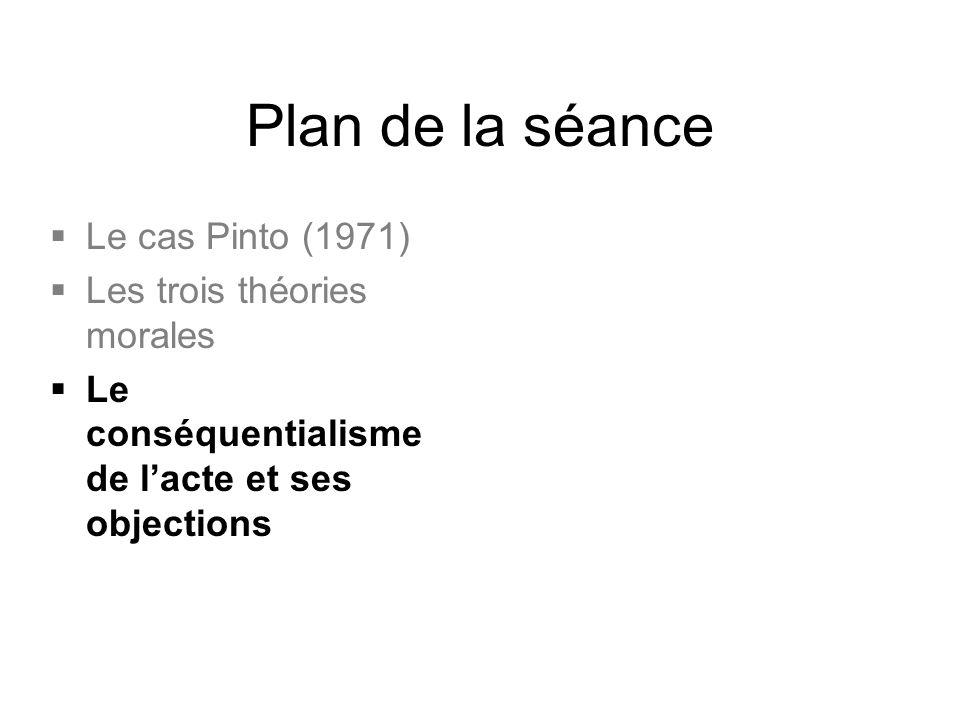 Plan de la séance  Le cas Pinto (1971)  Les trois théories morales  Le conséquentialisme de l'acte et ses objections