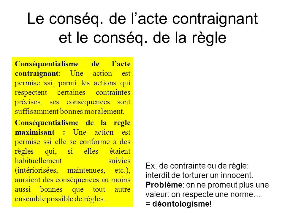 Le conséq. de l'acte contraignant et le conséq. de la règle Conséquentialisme de l'acte contraignant: Une action est permise ssi, parmi les actions qu