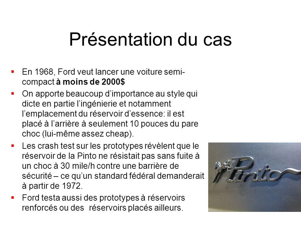 Présentation du cas  En 1968, Ford veut lancer une voiture semi- compact à moins de 2000$  On apporte beaucoup d'importance au style qui dicte en pa