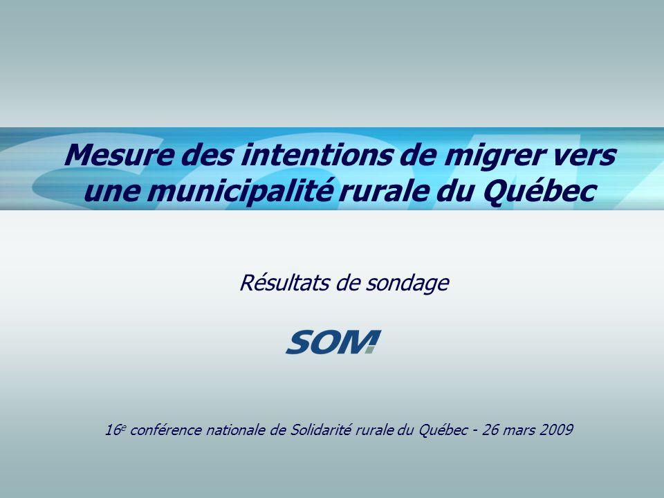 Mesure des intentions de migrer vers une municipalité rurale du Québec Résultats de sondage 16 e conférence nationale de Solidarité rurale du Québec -