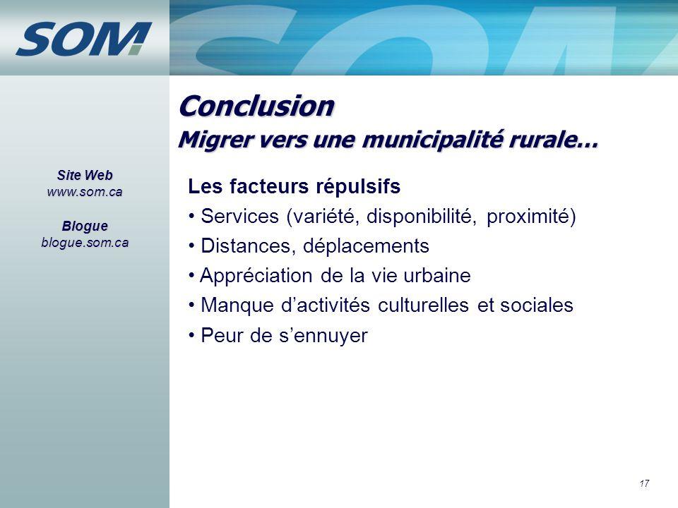 17 Conclusion Site Web www.som.ca Blogue blogue.som.ca Les facteurs répulsifs Services (variété, disponibilité, proximité) Distances, déplacements App