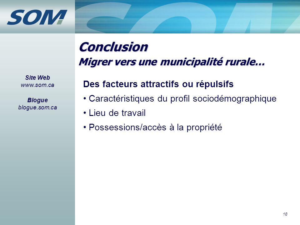 18 Conclusion Site Web www.som.ca Blogue blogue.som.ca Des facteurs attractifs ou répulsifs Caractéristiques du profil sociodémographique Lieu de trav