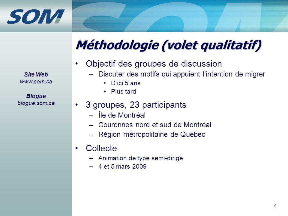 4 Méthodologie (volet qualitatif) Objectif des groupes de discussion –Discuter des motifs qui appuient l'intention de migrer D'ici 5 ans Plus tard 3 g