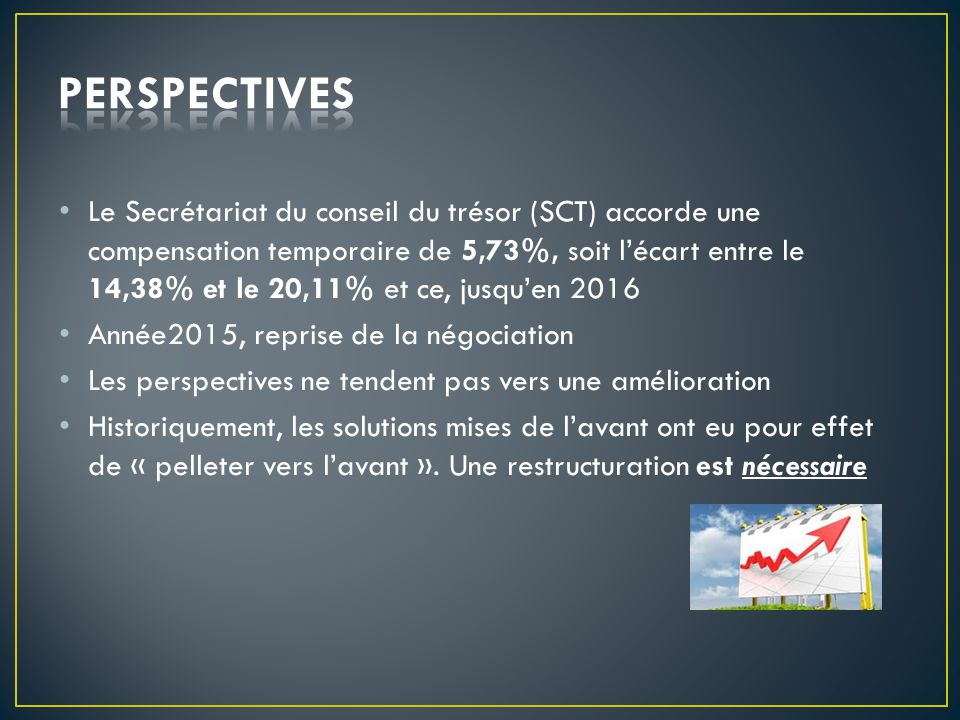 Le Secrétariat du conseil du trésor (SCT) accorde une compensation temporaire de 5,73%, soit l'écart entre le 14,38% et le 20,11% et ce, jusqu'en 2016