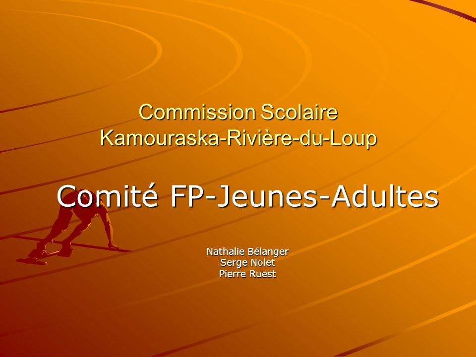 Commission Scolaire Kamouraska-Rivière-du-Loup Comité FP-Jeunes-Adultes Nathalie Bélanger Serge Nolet Pierre Ruest