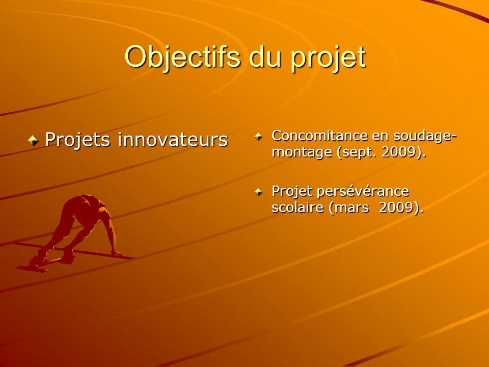 Objectifs du projet Projets innovateurs Concomitance en soudage- montage (sept. 2009). Projet persévérance scolaire (mars 2009).