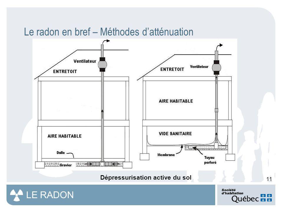 11 LE RADON Le radon en bref – Méthodes d'atténuation Dépressurisation active du sol