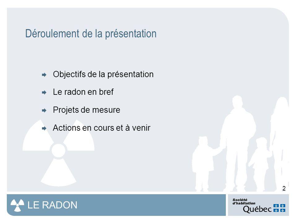 13 LE RADON Projets de mesure (suite)  Santé Canada  Étude pancanadienne dans 18 000 maisons unifamiliales (1 784 répondants au Québec)  Dépassement de la ligne directrice observé pour la province : 10,1 % Nom de la région Nombre de participants % inférieur à 200 Bq/m 3 % entre 200 et 600 Bq/m 3 % supérieur à 600 Bq/m 3 % supérieur à 200 Bq/m 3 Bas-Saint-Laurent17186,012,31,714,0 Saguenay-Lac-Saint-Jean7297,21,4 2,8 Région de la Capitale- Nationale16091,26,32,58,8 Région de la Mauricie et du Centre-du- Québec59100,00,0 Région de l Estrie5490,79,30,09,3 Région de Montréal7393,16,90,06,9 Outaouais6287,18,14,812,9 Abitibi-Témiscamingue6995,74,30,04,3 Côte-Nord10696,23,80,03,8 Nord-du-Québec22494,25,80,05,8 Gaspésie-Îles-de- la-Madeleine17474,721,83,525,3 Chaudière- Appalaches17586,912,50,613,1 Laval10787,911,20,912,1 Région de Lanaudière7696,13,90,03,9 Laurentides7889,79,01,310,3 Montérégie11291,18,90,08,9 Nunavik988,911,10,011,1 Terres-Cries-de-la-Baie-James3100,00,0