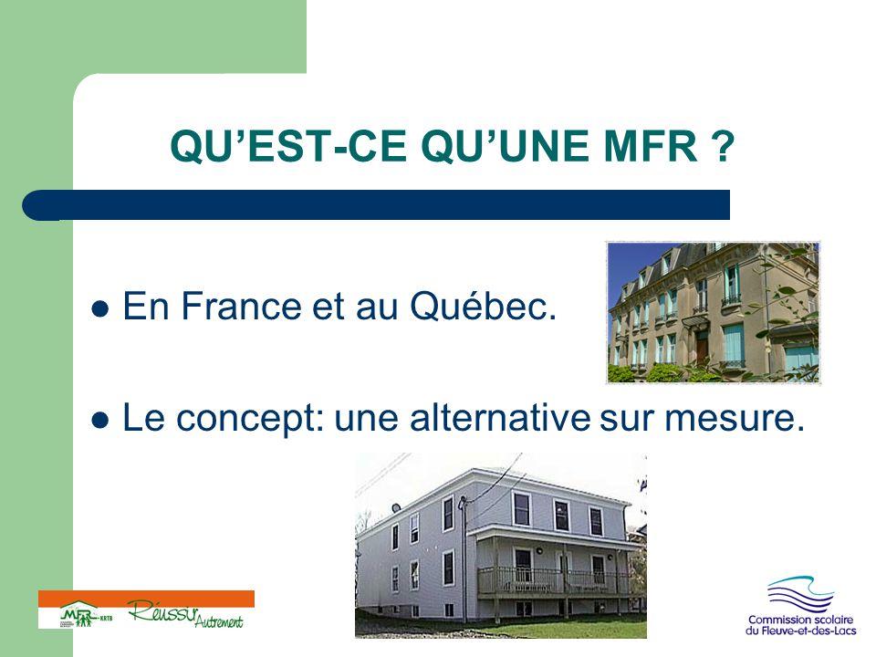 QU'EST-CE QU'UNE MFR ? En France et au Québec. Le concept: une alternative sur mesure.