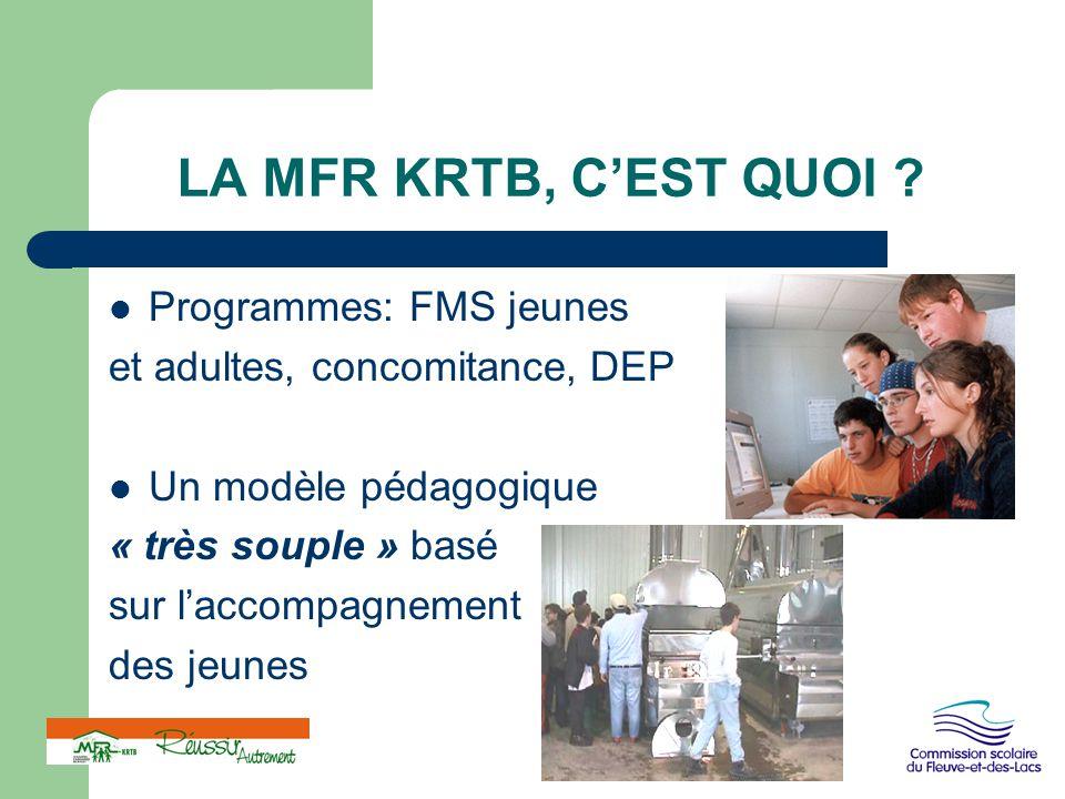 LA MFR KRTB, C'EST QUOI ? Programmes: FMS jeunes et adultes, concomitance, DEP Un modèle pédagogique « très souple » basé sur l'accompagnement des jeu
