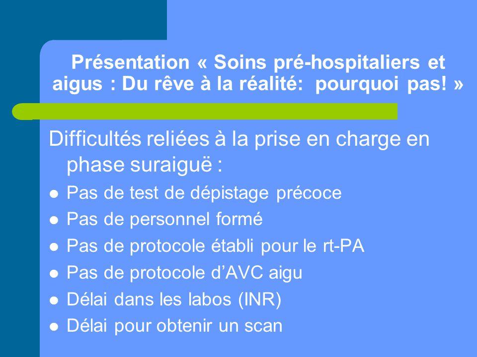 Présentation « Soins pré-hospitaliers et aigus : Du rêve à la réalité: pourquoi pas! » Difficultés reliées à la prise en charge en phase suraiguë : Pa