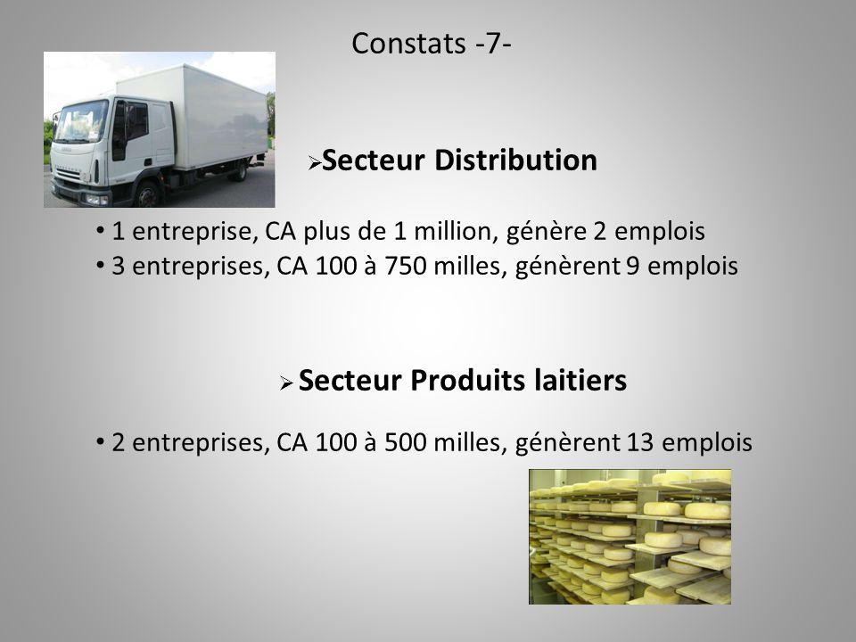 Constats -7-  Secteur Distribution 1 entreprise, CA plus de 1 million, génère 2 emplois 3 entreprises, CA 100 à 750 milles, génèrent 9 emplois  Secteur Produits laitiers 2 entreprises, CA 100 à 500 milles, génèrent 13 emplois