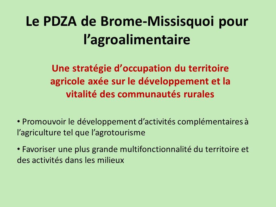 Le PDZA de Brome-Missisquoi pour l'agroalimentaire Promouvoir le développement d'activités complémentaires à l'agriculture tel que l'agrotourisme Favoriser une plus grande multifonctionnalité du territoire et des activités dans les milieux Une stratégie d'occupation du territoire agricole axée sur le développement et la vitalité des communautés rurales