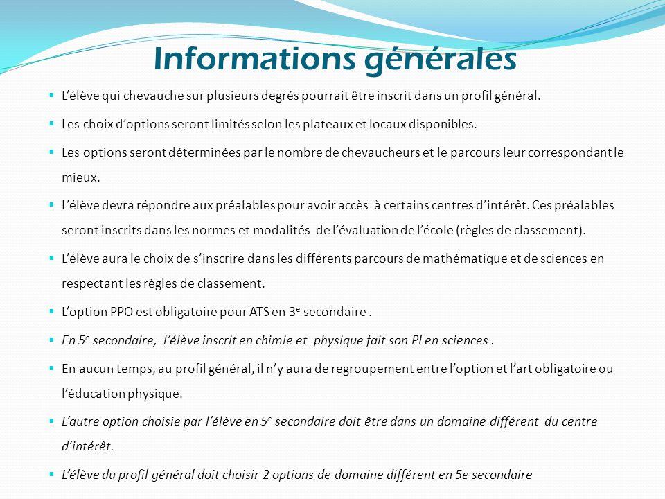 Informations générales  L'élève qui chevauche sur plusieurs degrés pourrait être inscrit dans un profil général.